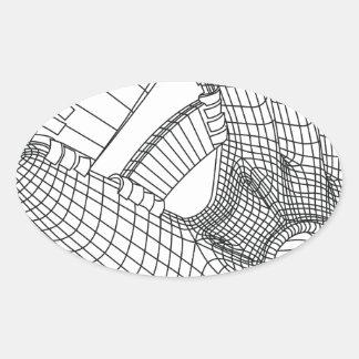 baseball glove oval sticker