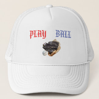 Baseball Gloves And Play Ball logo, Trucker Hat