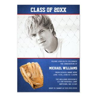 Baseball Graduation Blue Red Photo Card