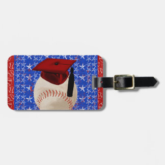 Baseball Graduation Cap, Stars, Red, White, Blue Luggage Tag