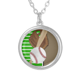 Baseball Green/Brown Silver Plated Necklace
