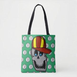 Baseball Hat Skull Tote Bag