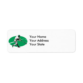 baseball hitter vector illustration return address label