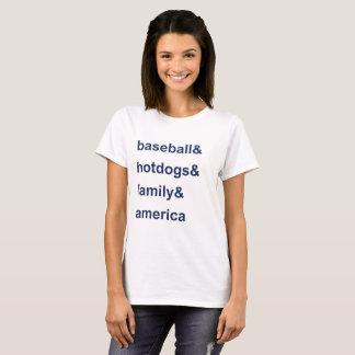 Baseball Hot Dogs Family America Blue T-Shirt