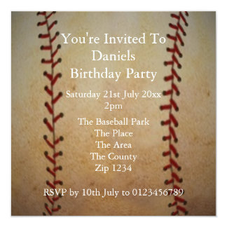 "Baseball 5.25"" Square Invitation Card"
