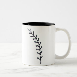 Baseball is a Love w Quote Ball Stitch Heart Image Two-Tone Coffee Mug