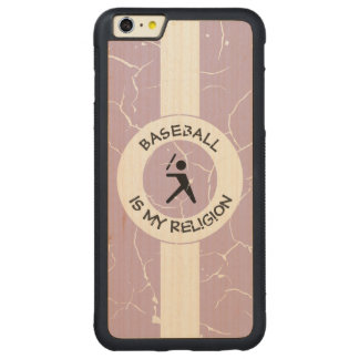 BASEBALL IS MY RELIGION CARVED MAPLE iPhone 6 PLUS BUMPER CASE