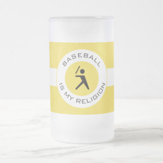 BASEBALL IS MY RELIGION FROSTED GLASS BEER MUG
