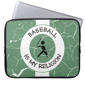 BASEBALL IS MY RELIGION LAPTOP SLEEVE