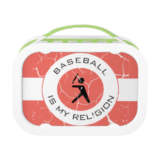 BASEBALL IS MY RELIGION LUNCH BOX