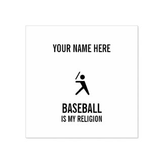 BASEBALL IS MY RELIGION RUBBER STAMP