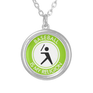 BASEBALL IS MY RELIGION SILVER PLATED NECKLACE