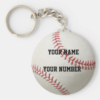 Baseball Keychain ID Tag YOUR NAME & Number