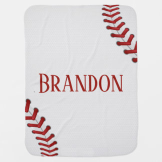 Baseball Laces Bases Ball Red White Game Name Baby Blanket