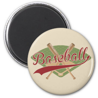 Baseball Magnet with crossed bats and field