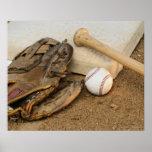 Baseball, Mitt, and Bat on Base Poster