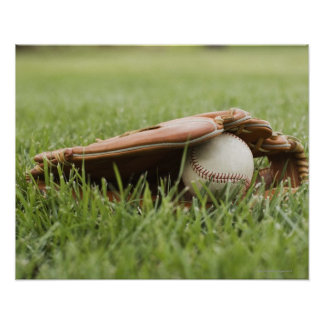 Baseball mitt with ball in grass poster