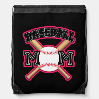 Baseball Mom Back pack Pink Drawstring Bag