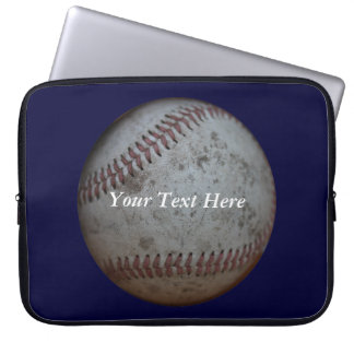 Baseball Navy Blue And Name Laptop Sleeve