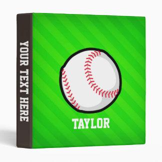 Baseball; Neon Green Stripes 3 Ring Binders