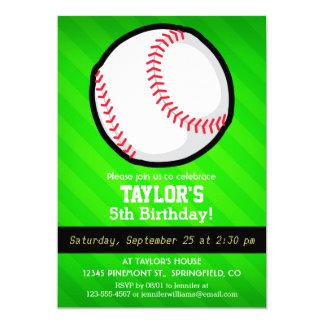 Baseball; Neon Green Stripes 5x7 Paper Invitation Card