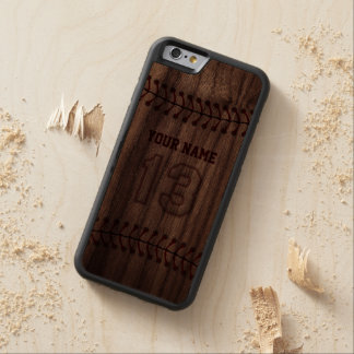 Baseball Number 13 with Your Name - Wooden Sporty Walnut iPhone 6 Bumper Case