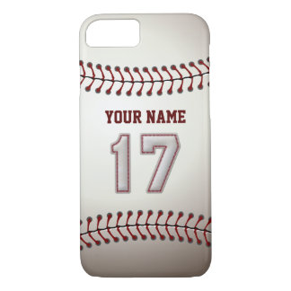 Baseball Number 17 with Your Name - Modern Sporty iPhone 8/7 Case