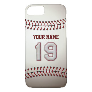 Baseball Number 19 with Your Name - Modern Sporty iPhone 7 Case
