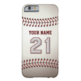 Baseball Number 21 with Your Name - Modern Sporty Barely There iPhone 6 Case