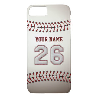Baseball Number 26 with Your Name - Modern Sporty iPhone 7 Case
