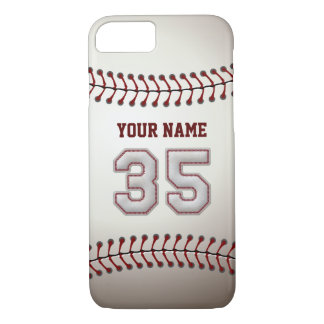 Baseball Number 35 with Your Name - Modern Sporty iPhone 7 Case