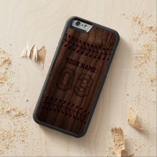 Baseball Number 3 with Your Name - Wooden Sporty Walnut iPhone 6 Bumper Case
