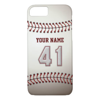 Baseball Number 41 with Your Name - Modern Sporty iPhone 7 Case
