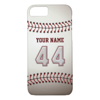 Baseball Number 44 with Your Name - Modern Sporty iPhone 7 Case