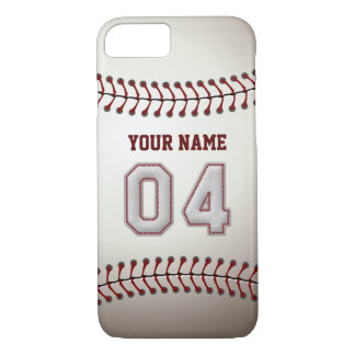 Baseball Number 4 with Your Name - Modern Sporty iPhone 7 Case