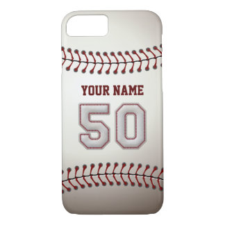 Baseball Number 50 with Your Name - Modern Sporty iPhone 7 Case