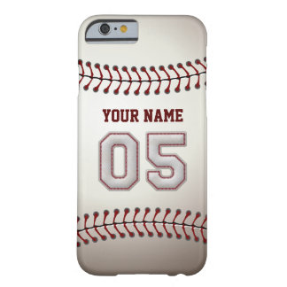 Baseball Number 5 with Your Name - Modern Sporty Barely There iPhone 6 Case