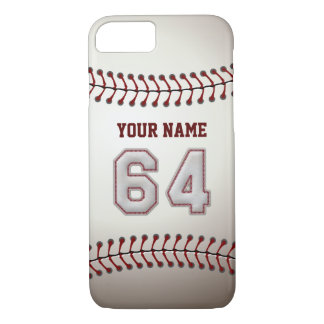Baseball Number 64 with Your Name - Modern Sporty iPhone 7 Case