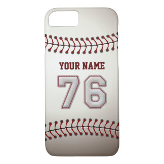 Baseball Number 76 with Your Name - Modern Sporty iPhone 7 Case