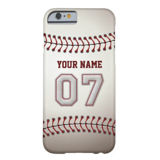 Baseball Number 7 with Your Name - Modern Sporty Barely There iPhone 6 Case