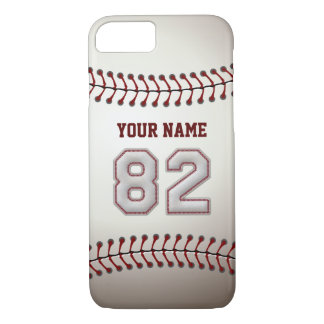 Baseball Number 82 with Your Name - Modern Sporty iPhone 7 Case