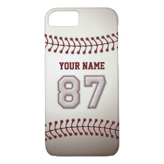 Baseball Number 87 with Your Name - Modern Sporty iPhone 7 Case