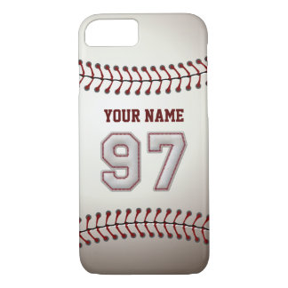 Baseball Number 97 with Your Name - Modern Sporty iPhone 7 Case