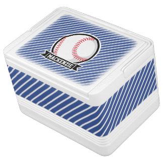 Baseball on Blue & White Stripes