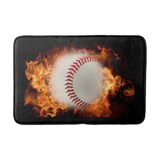 Baseball on fire bath mat