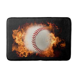 Baseball on fire bathroom mat