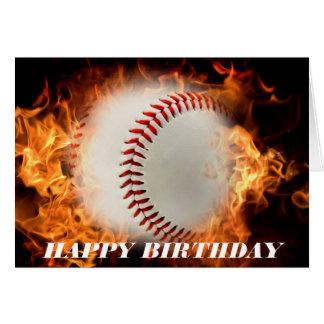 Baseball on fire card