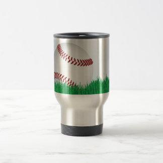baseball on grass travel mug