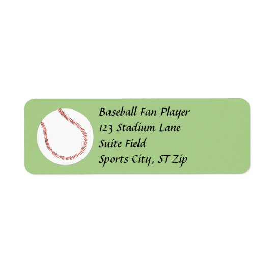 Baseball on Green Address Labels