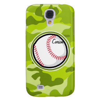 Baseball on Green Camo Camouflage Galaxy S4 Cover
